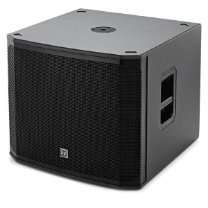 side angle view of a subwoofer speaker for rent