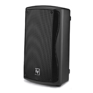 side angle view of a EV 8inch powered speaker for hire