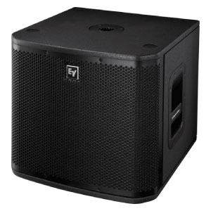 """profile view of a EV 12"""" powered subwoofer"""
