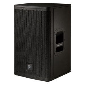 """profile view of a EV 12"""" powered speaker to hire"""