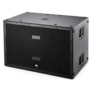 profile view of a RCF 18inch dual subwoofer for hire