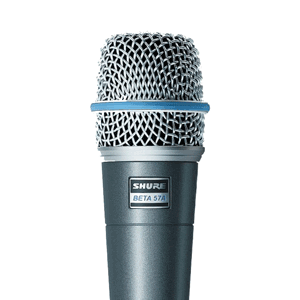profile view of a shure beta 57a mic for hire