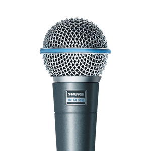 view of a shure beta 58a microphone to rent