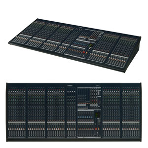 top and profile view of a large mixing desk for hire