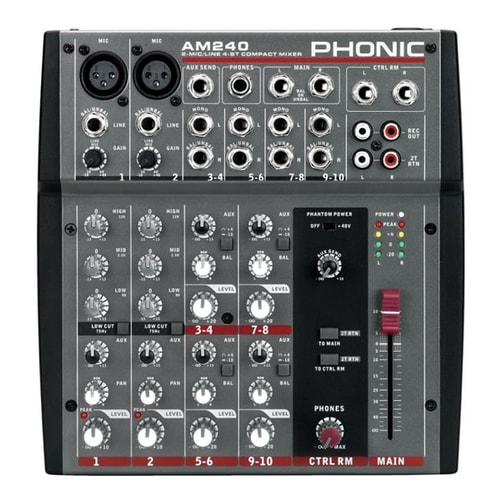 profile view of a small mixing console phonic AM240