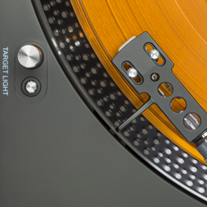 close up view of a turntable to rent