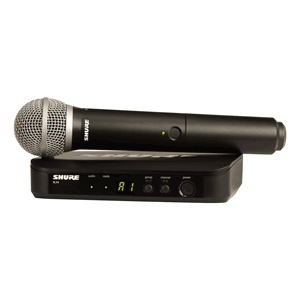 Profile view of a Shure wireless mic and receiver package