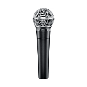 Front view of a classic Shure SM58 mic for rent