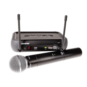 Front profile of a Shure Wireless microphone receiver for hire