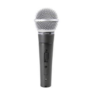 side profile view of a microphone for hire - the Shure SM58 switched
