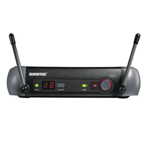 Front on view of a Shure PGX4 wireless unit for hire