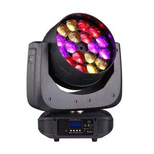 a profile view of a colourful LED moving light for rent
