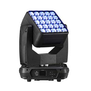 side on view of a RGBW LED moving head stage light
