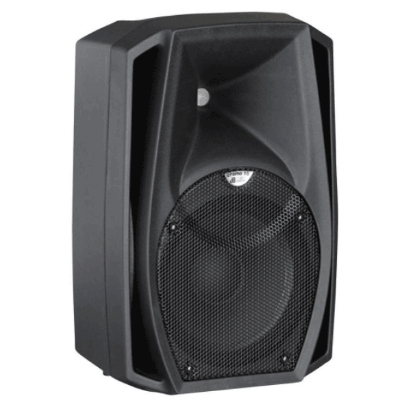 Side profile view of a 10 inch speaker for rent