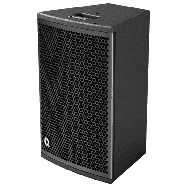 Profile view of a Quest 12 inch speaker for rent