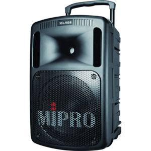 profile view of a portable pa system for hire; the Mipro MA 808