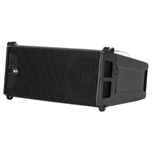 profile view of a rcf line array cabinet; part of a speaker system for hire