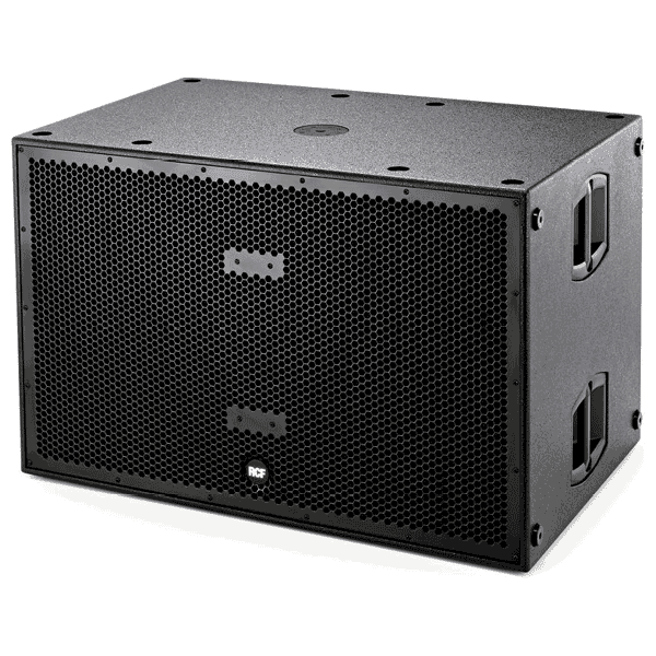 profile view of a RCF 18 inch Dual Subwoofer for hire