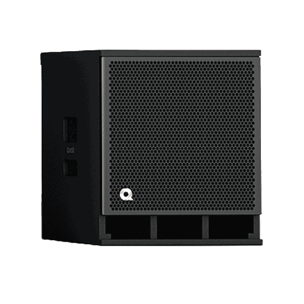 side profile of a pa system subwoofer to rent: quest qm600asi