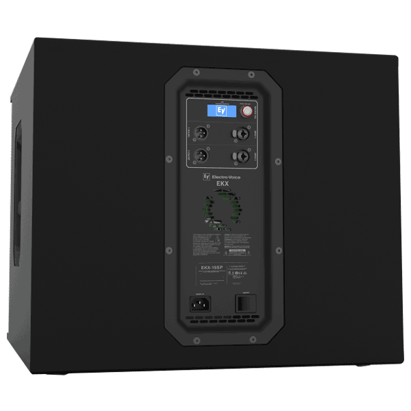 pa system hire: side top down view of a EV 18 inch powered subwoofer