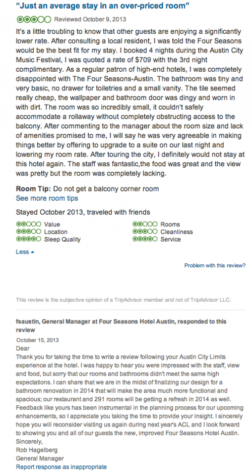 Negative TripAdvisor Review - running Hetras Cloud Based Hotel Management Software