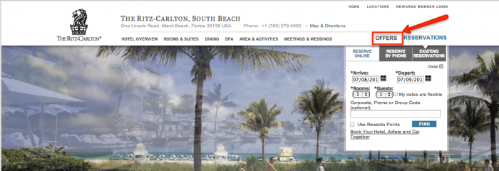 Ritz carlton miami banner offers - running Hetras Cloud Based Hotel Management Software