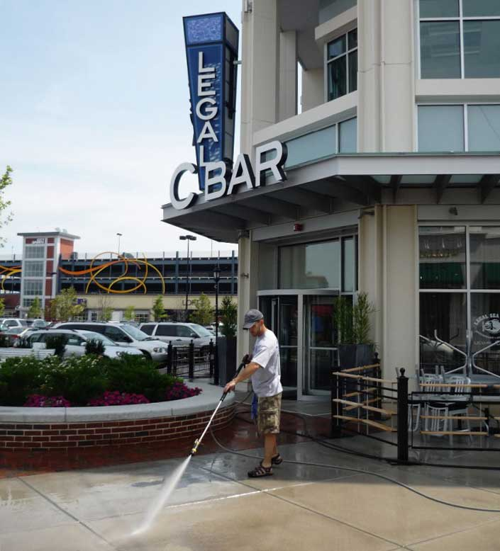 commercial pressure washing project
