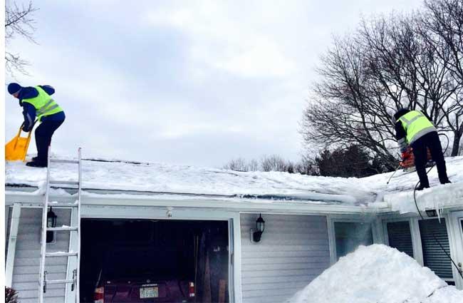 emergency snow removal on a framingham home