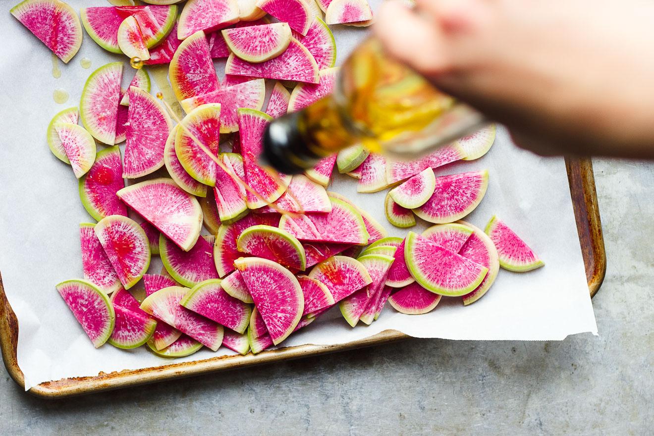 Watermelon radish veggie chips