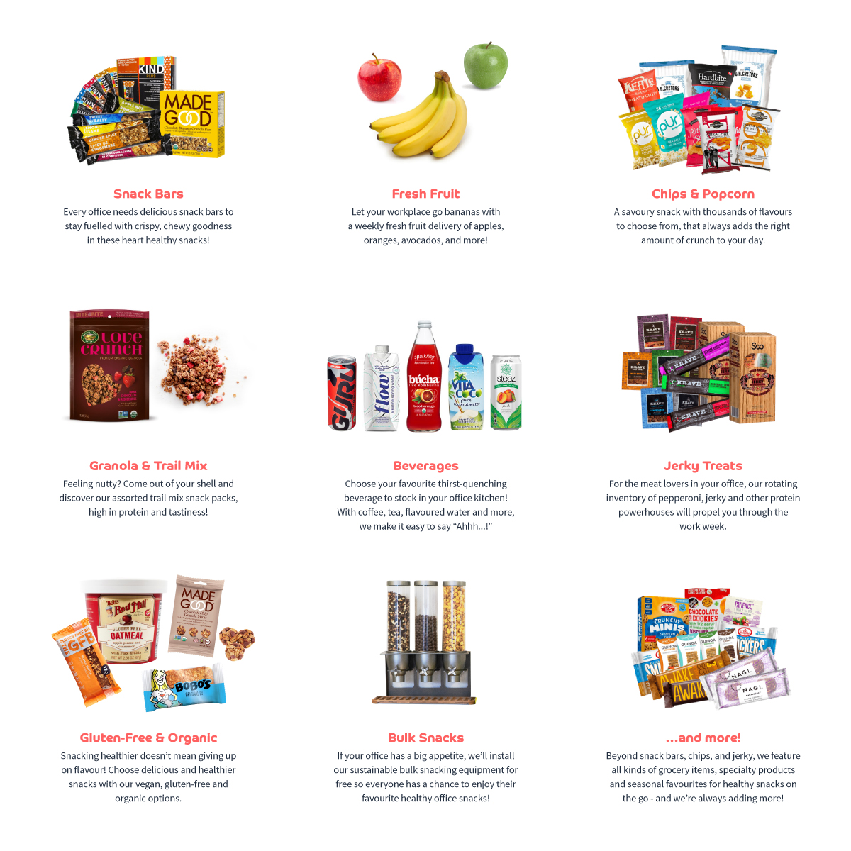 Our huge variety of healthy office snacks available with your office snack delivery program!