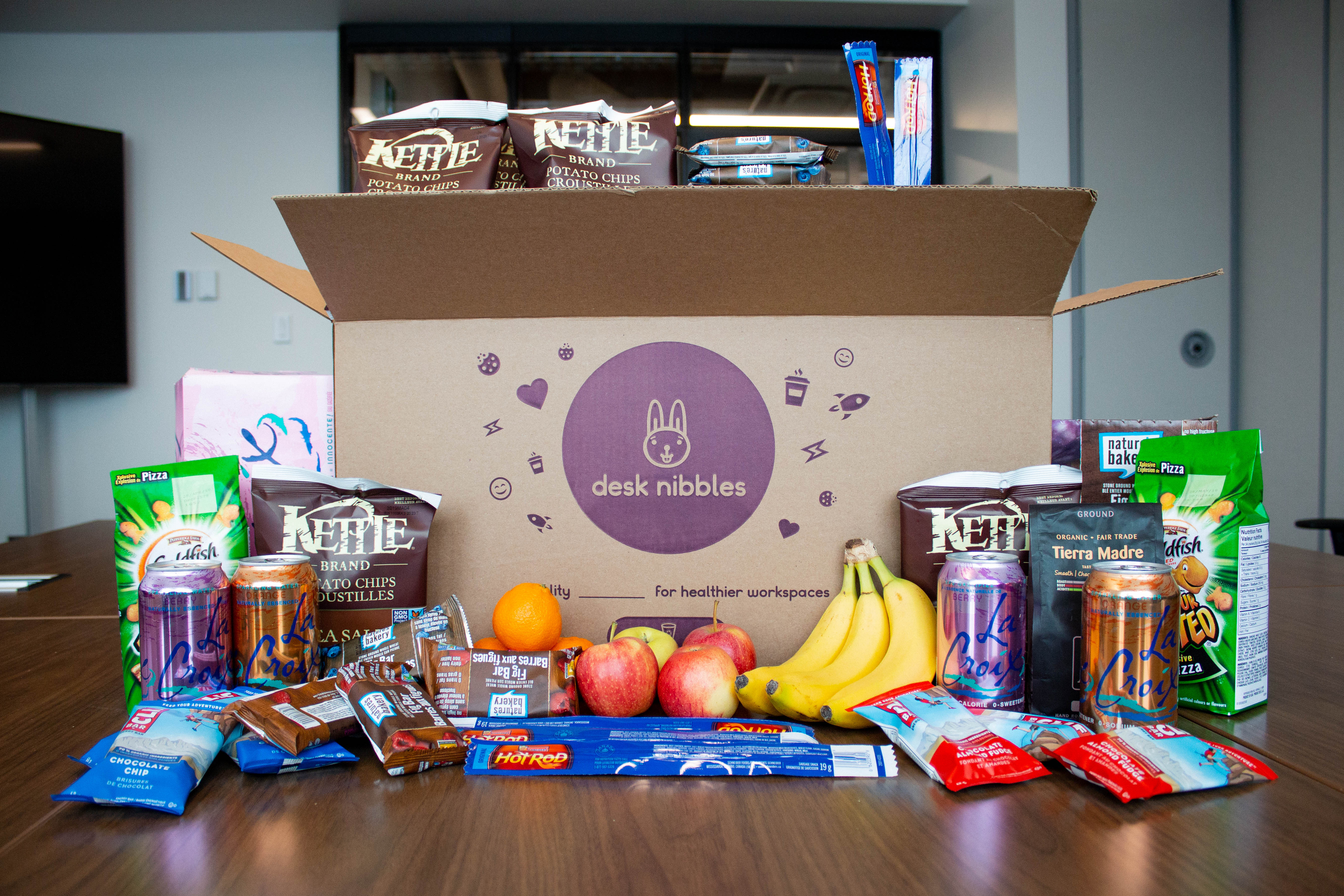 Healthy office snacks delivered to offices are a perfect desk accessory!