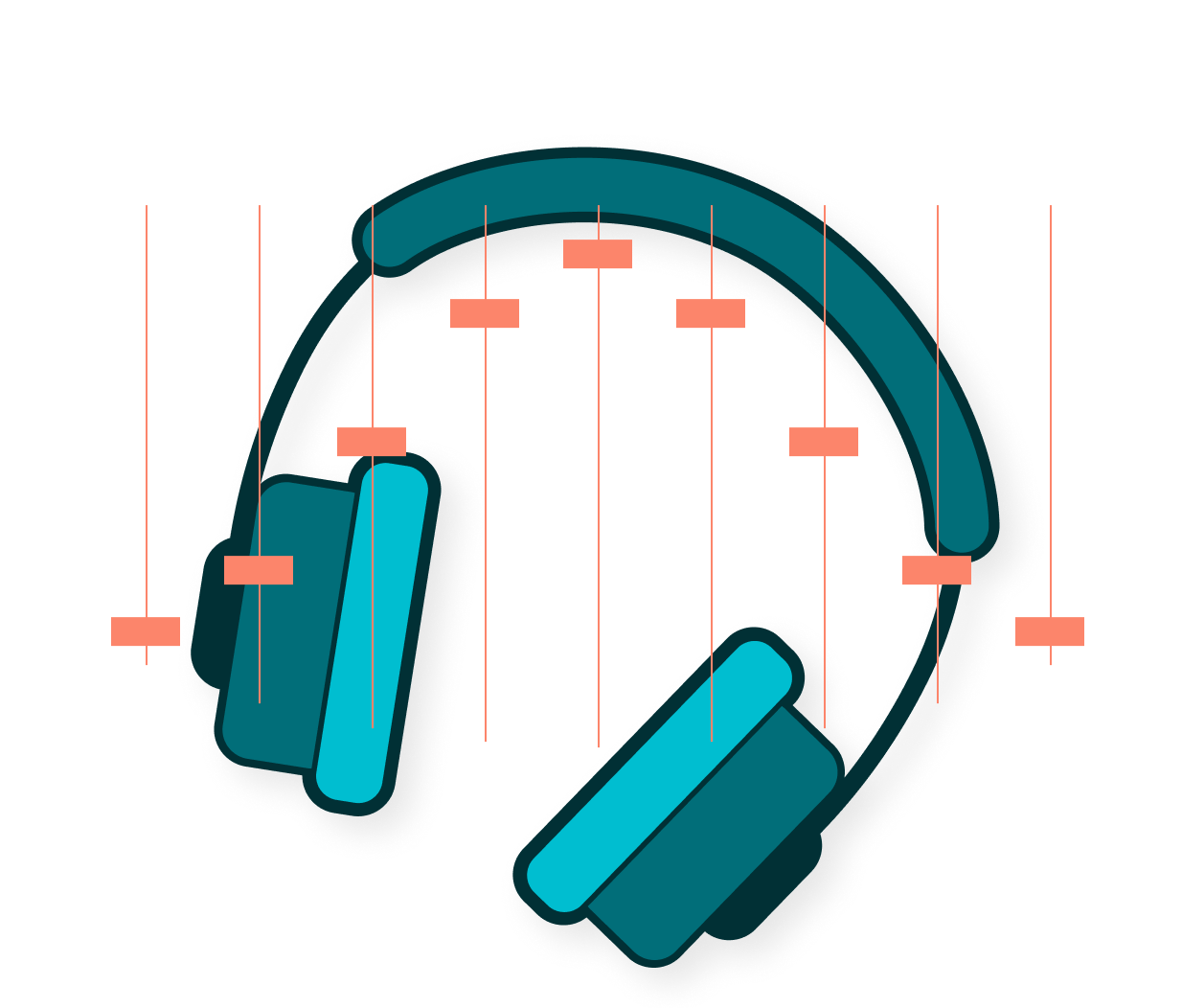 illustration of headphone being repriced for multiple channels
