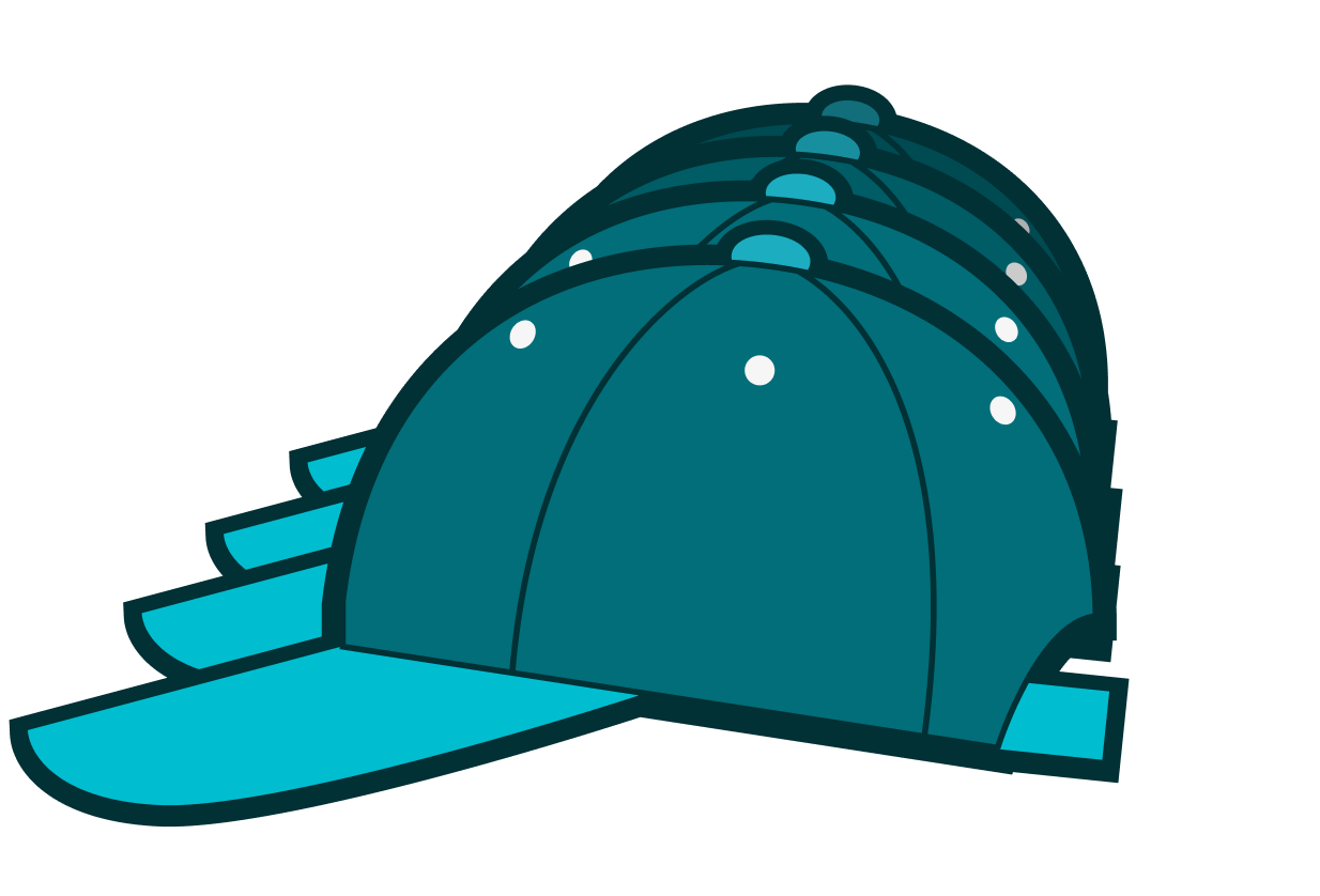 illustration of multiple hats in stock