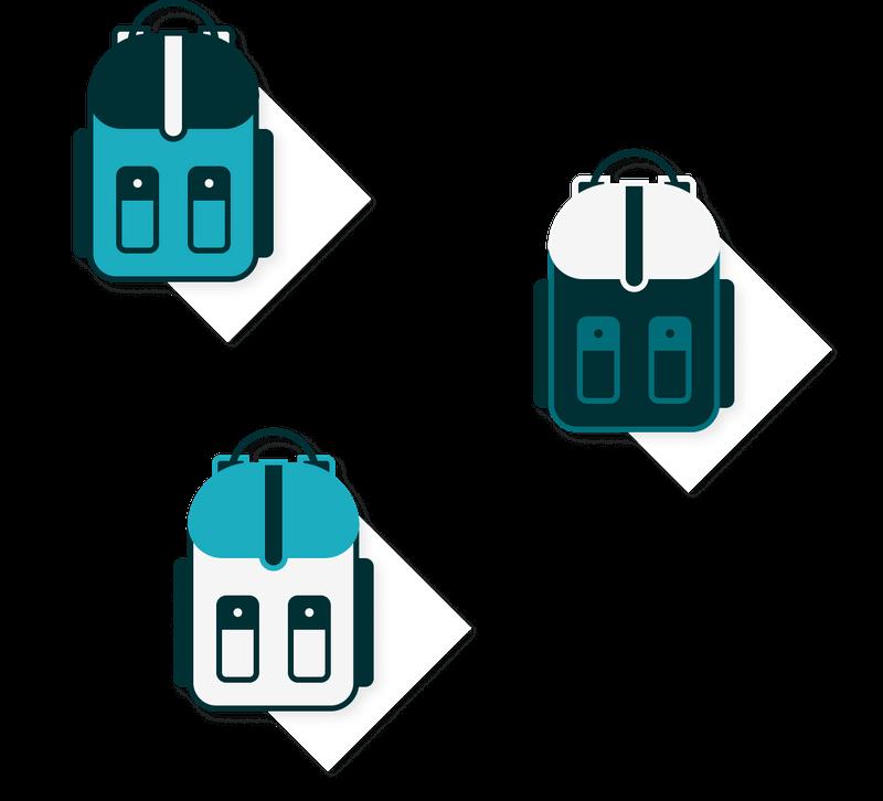illustration of a multipack of backpacks