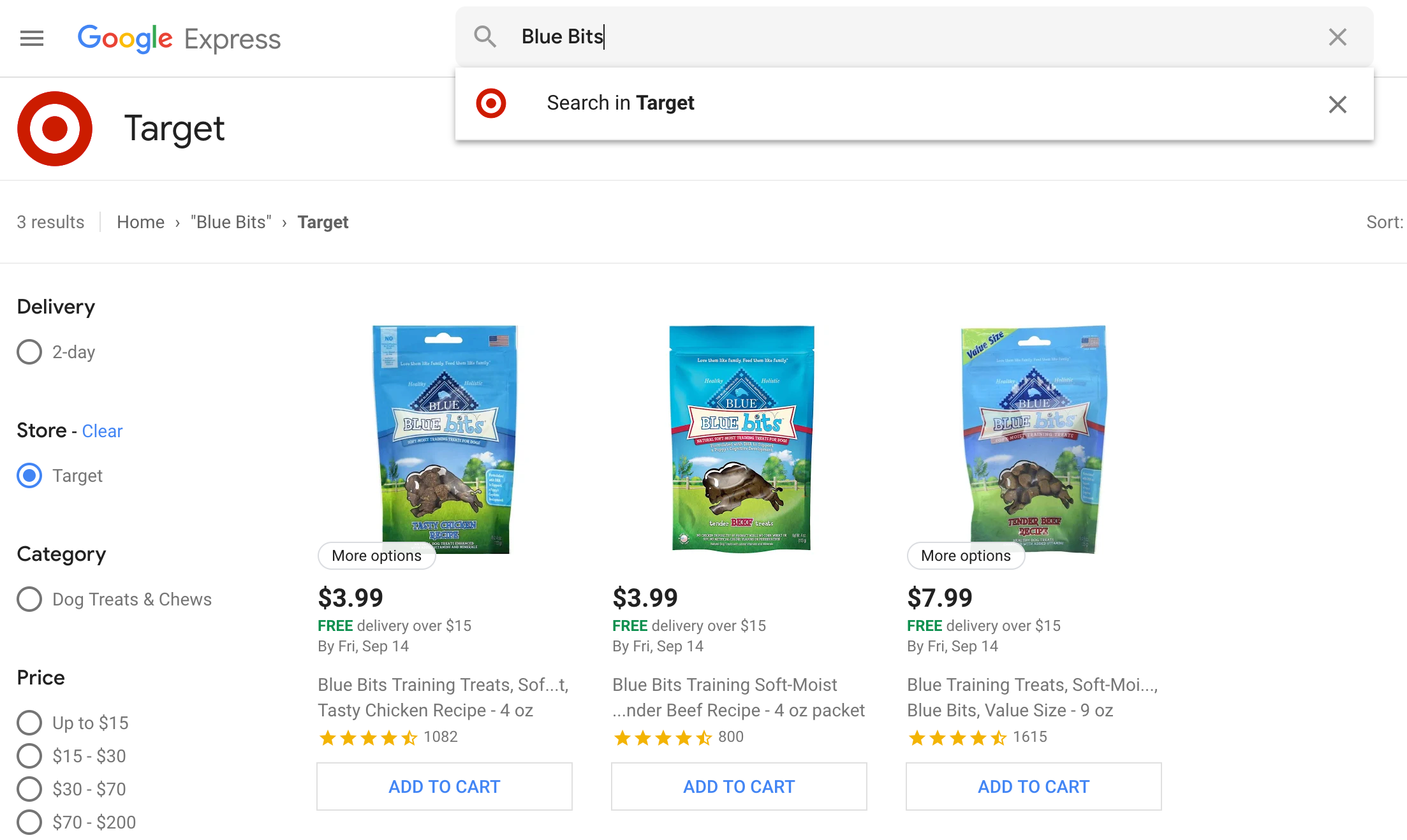 Google Express Search Experience