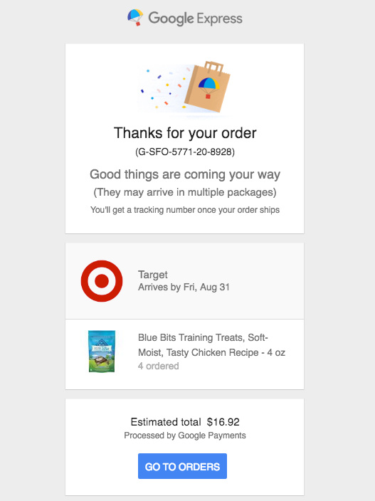 Google Express Order Confirmation Email