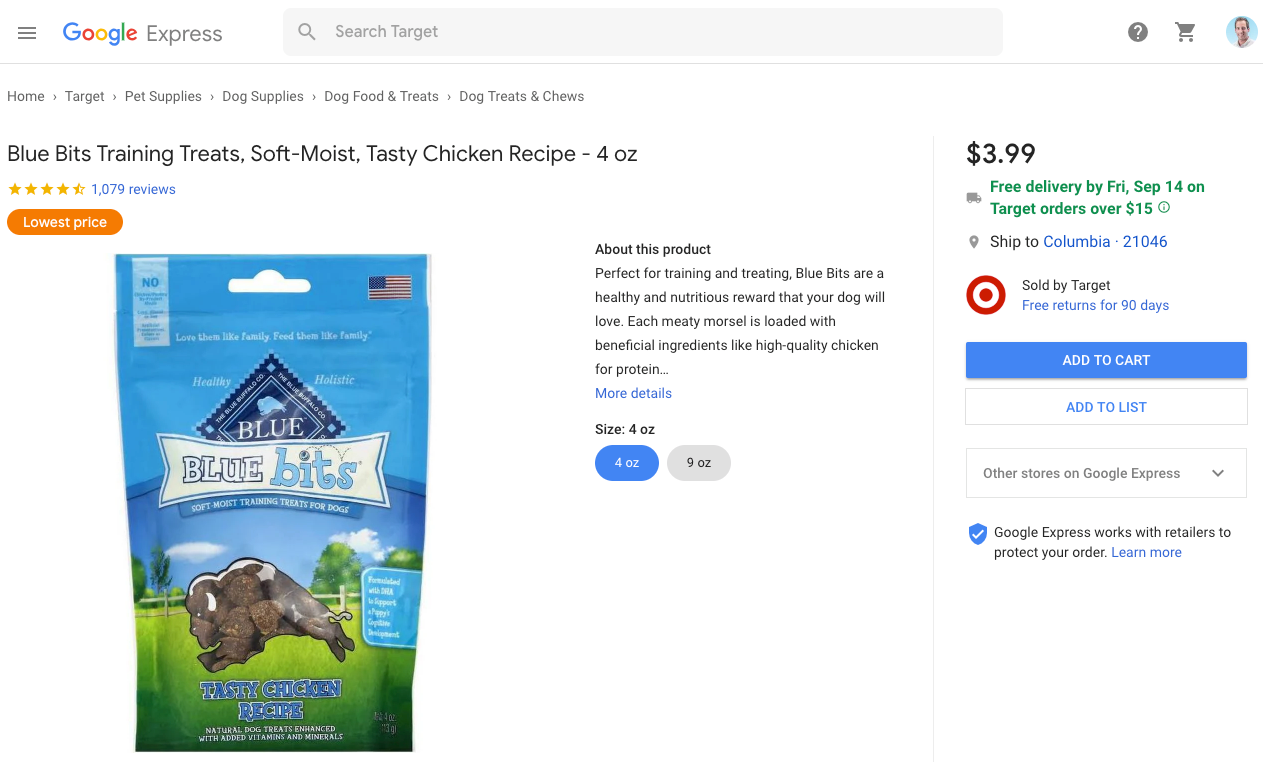 Google Express Product Listing