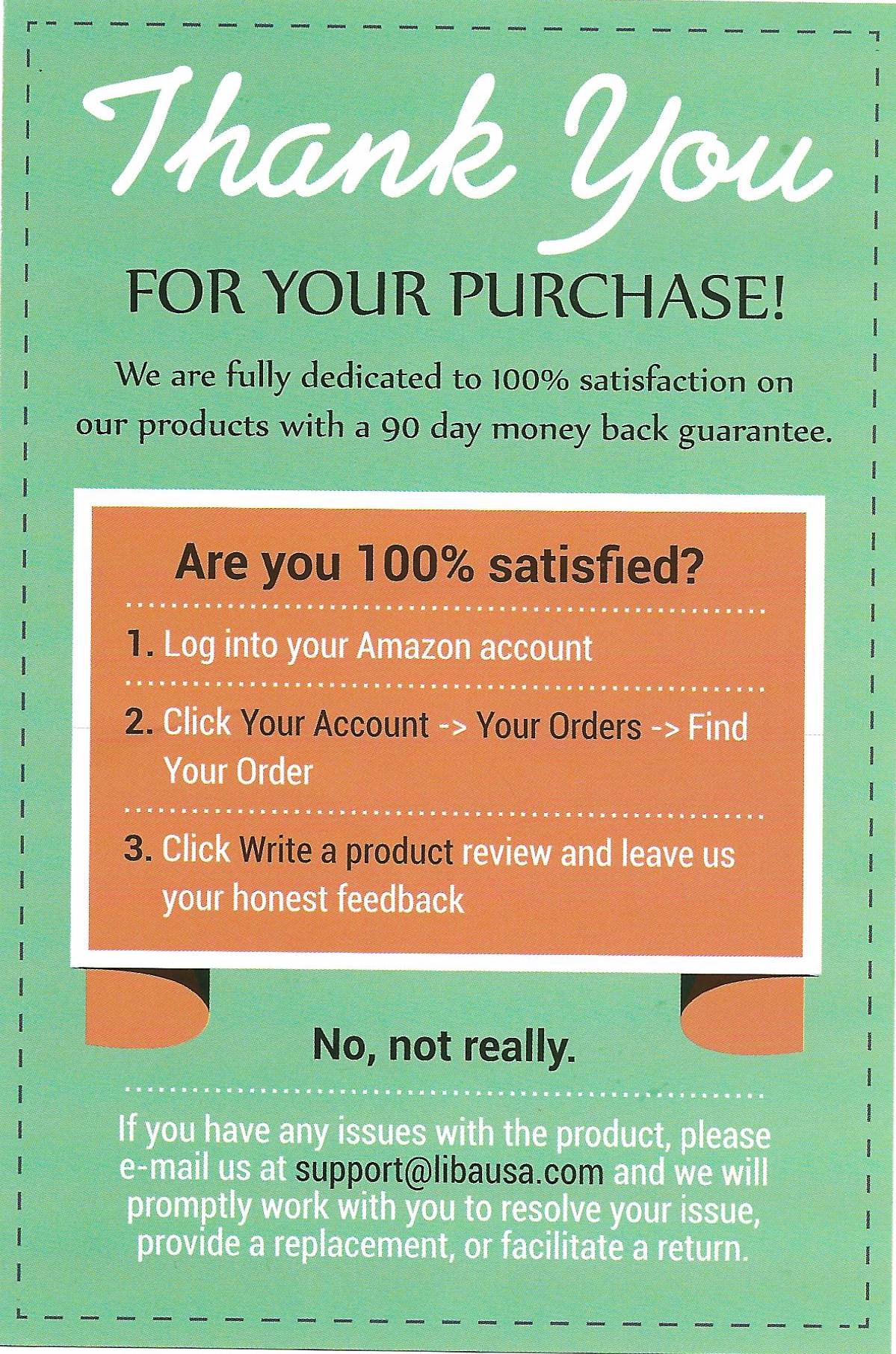 Product Review Packing Insert For Amazon Reviews
