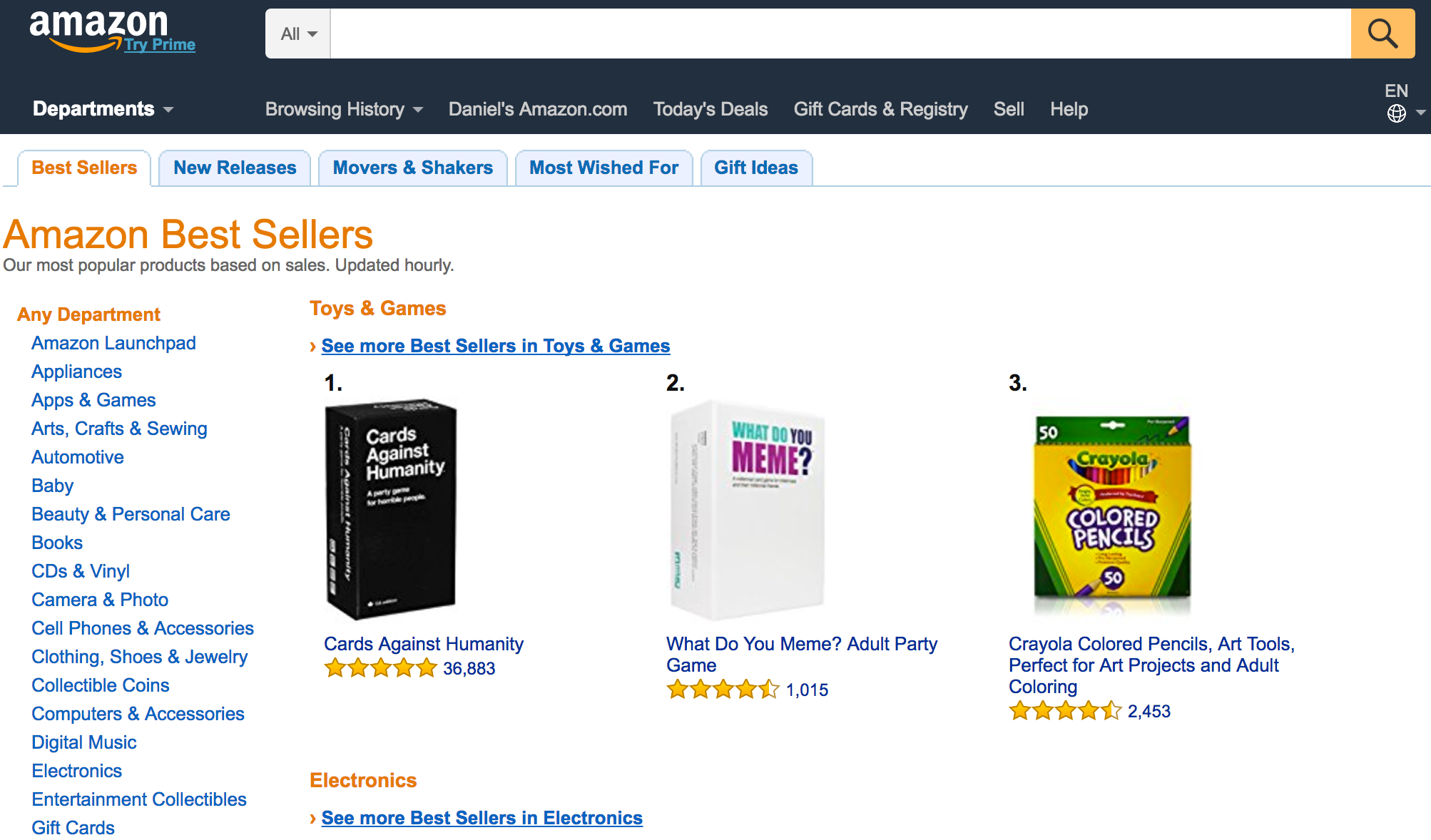 Amazon's Best Sellers, Sales Rank