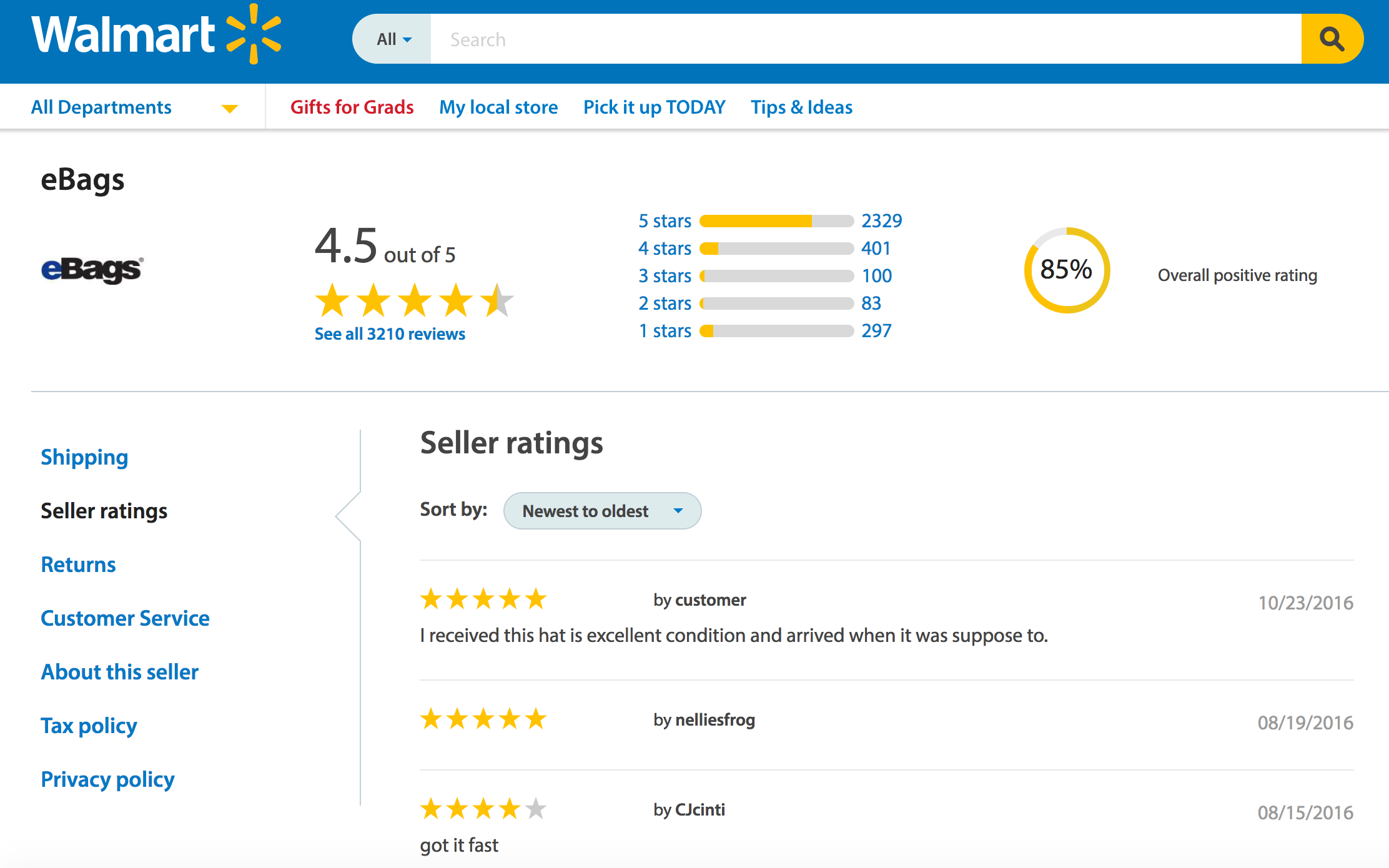 Walmart Marketplace Seller Ratings
