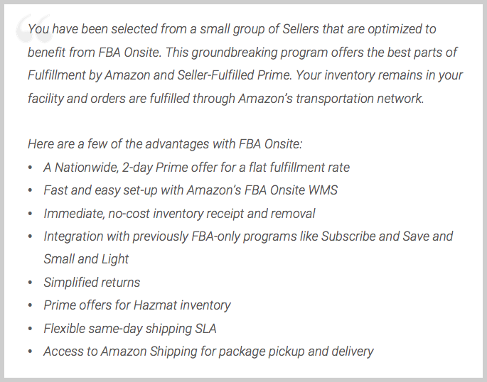email to amazon marketplace seller about amazon onsite