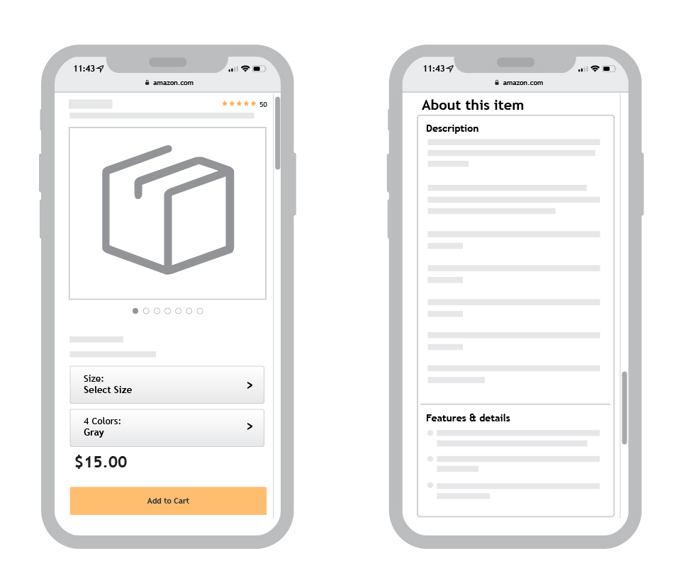 example of amazon product listing optimized for mobile