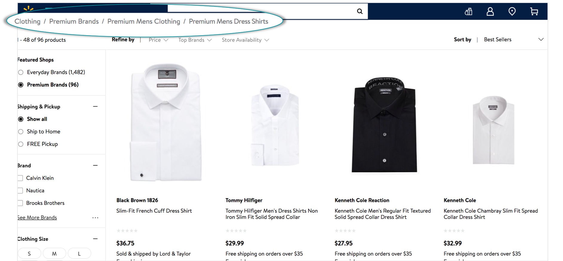 product data example on walmart.com