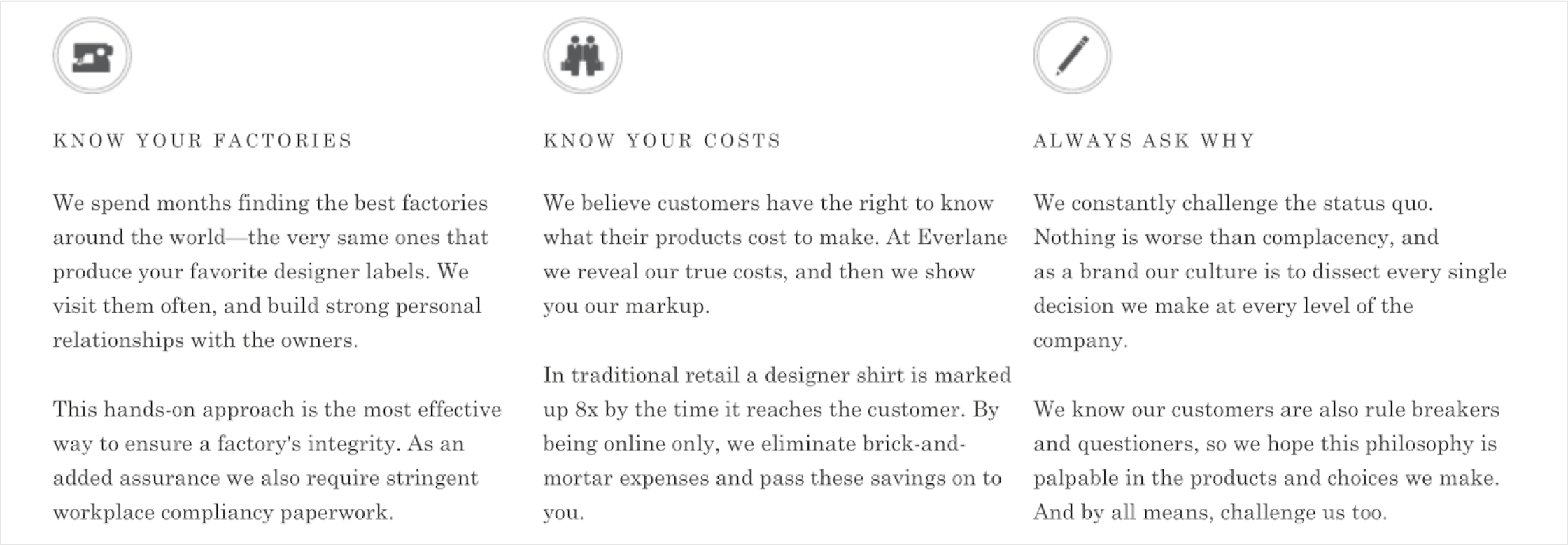 everlane company values