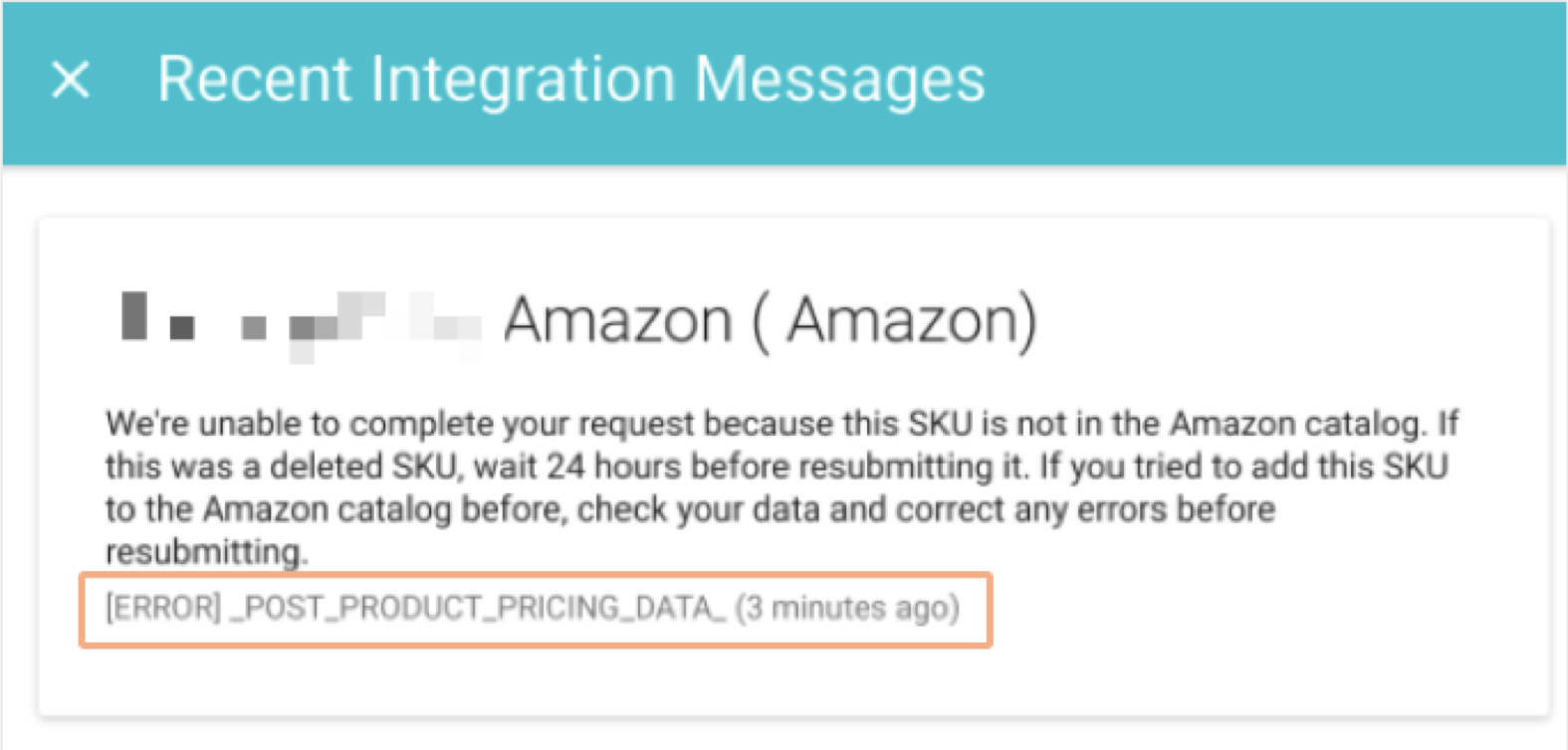 amazon product feed error in zentail