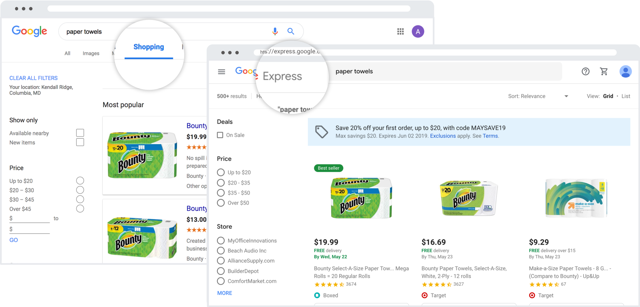 difference between google shopping and google express
