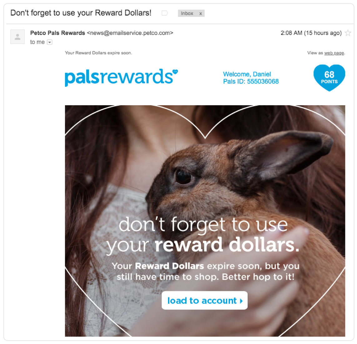 example of an email for a rewards program