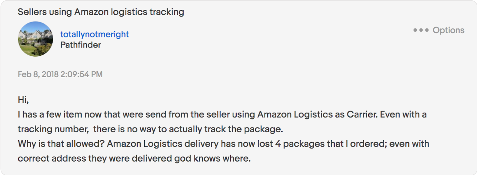 seller complaint over Amazon Logistics tracking