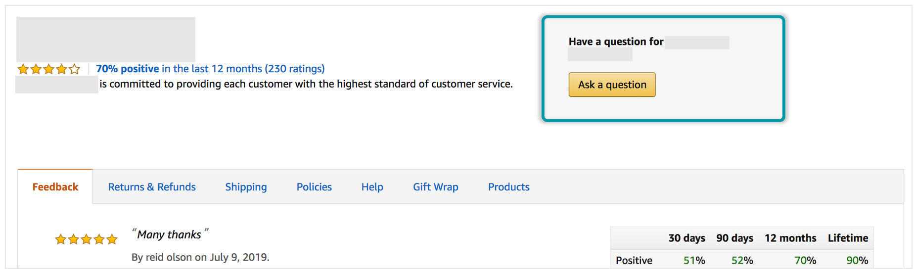 example of a link to contact an amazon seller
