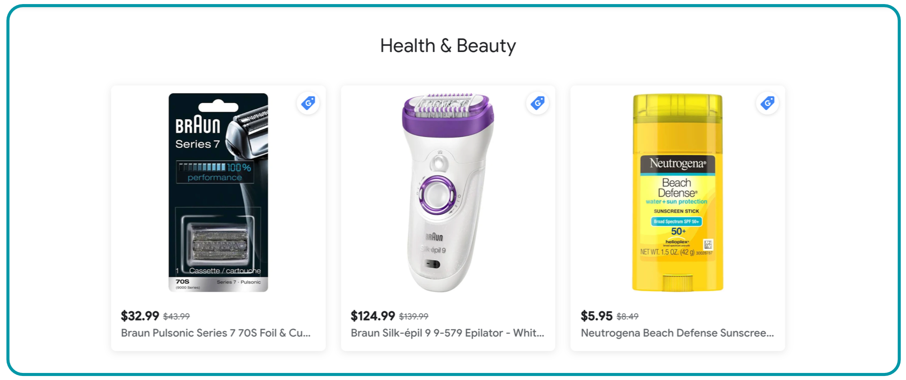 example of personalized product recommendations on google shopping